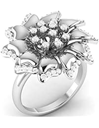 VIJISAN Solid 10K Gold 0.60 CT Round Cut Natural Diamond SI HI Flower Designer Engagement Ring [VIJISAN_GUR1152...