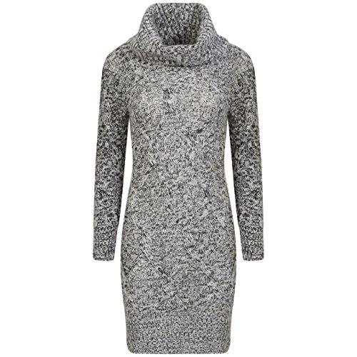 Damen Melange Garn Weiches Kabel Knit Kapuzensweat Pullover Kleid EUR Größe 36-42 (S/M (EUR 36-38), Grau) (Stricken Pullover Kleid Kabel)