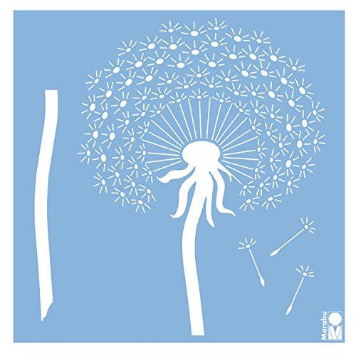 Marabu 27700023 - Schablone 33x33cm, Blowball Pusteblume Löwenzahn, zur Verzierung von Wänden, Möbeln und Textilien