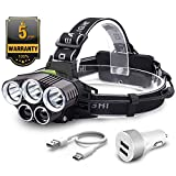 Head Torch,Witmoving Headlamps Flashlight with 5 CREE LED,USB Charge,6 Modes Headlight,15000 Lumens Helmet Light for Camping, Running, Hiking ,Fishing,Reading