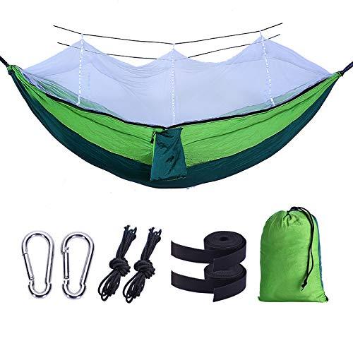 shutian Doppel Moskitonetz Hängematte 210t Nisifang Fallschirm Tuch Antenne Outdoor Camping Zelt, 260 * 140cm dunkelgrün Obst grün weiß Mesh -