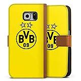 DeinDesign Samsung Galaxy S6 Tasche Leder Flip Case karamell Hülle braun BVB Borussia Dortmund Sterne