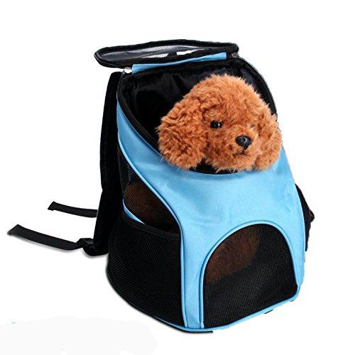 LongYu Haustier-Rucksack, Reise-Träger-Schulter-Rucksack-tragbarer Kennel Breathable im Freienwelpen-Katze-Kasten-Hundebeutel (Color : Blue)