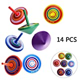 OZUAR 14 Pack Wooden Spinning Top Colorful Creative Non-toxic Wood Toy