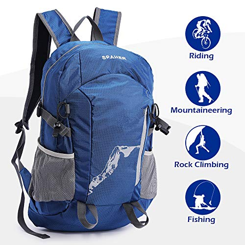 SPAHER Ultralight Hiking Backpack Trekking Rucksack Foldaway Packaway Daypack Shoulder Bag Waterproof Outdoor Unisex Cycling Holdall Flight Bag School Camping Travelling Bag 20L-Reflective In Night