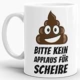Tassendruck Emoji-Tasse -Kackhaufen- mit Spruch: Kein Applaus Fuer Scheisse - Weiss -/Smiley/Shit/Kacke/Lustig/Witzig/Spaßig/Mug/Cup/Beste Qualität - 25 Jahre Erfahrung
