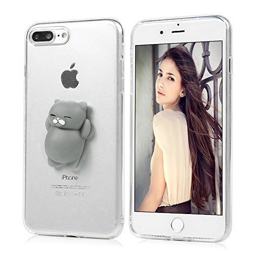 "iPhone 7 Plus Silikon Hülle YOKIRIN Crystal Clear Case Cover für iPhone 7 Plus (5.5"") Silikonhülle 3D Weiche Silikon Cartoon Figer Pinch Dekompressions Spielzeug Case Transparent TPU Silikon Handytasc Graubären"
