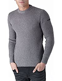 Duck and Cover Mens Mens Beam Jumper in Grey Marl - S