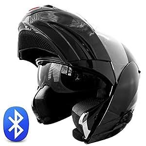 TECNO modulable avec oreillette bluetooth rollerhelm casque de moto intégral avec visière ausfahrbares m 57 58 noir brillant