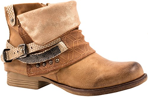 Elara Damen Stiefeletten | Bequeme Biker Boots | Metallic Print Nieten (40, Camel)