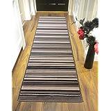 Alfombra con diseño de rayas en gris y negro, 60 x 220 cm