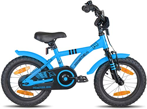 Prometheus Bicicletta per Bambini e Bambine da 4 Anni nei Colori Blu e Nero da 14 Pollici con rotelle e contropedale – BMX da 14″ Modello 2019 - 5