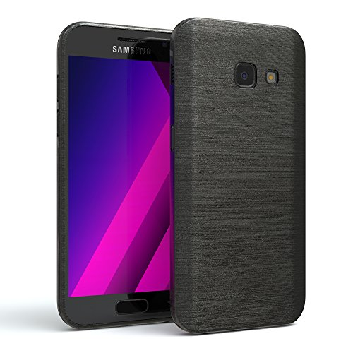 EAZY CASE GmbH Hülle für Samsung Galaxy A3 (2017) Schutzhülle Silikon, gebürstet, Slimcover in Edelstahl Optik, Handyhülle, TPU Hülle/Soft Case, Backcover, Silikonhülle Brushed, Anthrazit