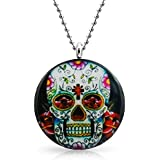 Bling Jewelry Stainless Steel Sugar Skull Pendant Necklace 2mm Ball Chain 18in Free Engraving