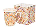 Tee-Tasse Teebecher Set mit Teesieb (Edelstahl) und Deckel Porzellan Teetasse mit Sieb Geschenk-Tasse Blumen Cup with tea infuser 320 ml von DUO 3teilig in Geschenkbox Becher Geschenkset (Espania)