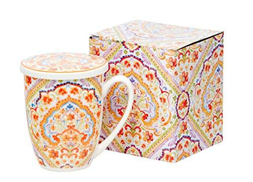 Set de Tasse de Th? Tasse ? th? avec filtre et couvercle porcelaine | Espania | Coupe Tasse de cadeau tasse ? th? infuseur with Metal 320?ml de Duo dans coffret cadeau