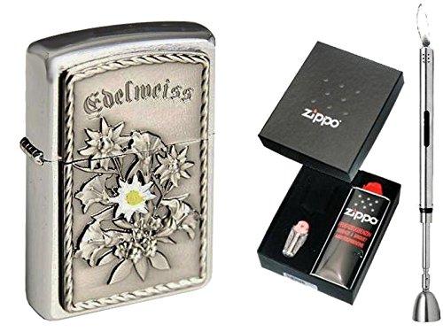 Zippo Feuerzeug EDELWEISS Emblem & Geschenkset Wählbar + R-S Stabfeuerzeug Chrome (Geschenkset Zippo)