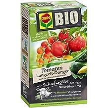 COMPO BIO Tomaten Langzeit-Dünger mit Schafwolle, einzigartiger, rein organischer Naturdünger für alle Tomatenpflanzen und -sträucher sowie Frucht und Knollen bildendes Feingemüse u. Kräuter, 750 g