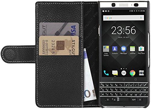 StilGut Talis Schutz-Hülle für BlackBerry KEYone mit Kreditkarten-Fächern aus echtem Leder. Seitlich aufklappbares Flip Case in Handarbeit gefertigt für das Original BlackBerry KEYone, Schwarz