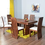 #2: Nisha Furniture SolidWood 6 Seater Dining Table Set with 6 Chairs | Home/Kitchen/Living Room/Dining Room | 100% Sheesham Wood | Natural Teak Finish