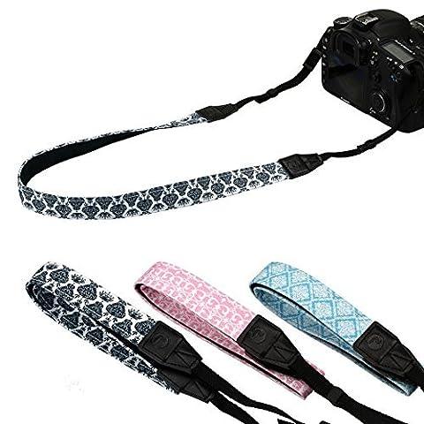 RoryTory 3pc Damask Pattern Design Thin DSLR Camera Shoulder & Neck Strap Bundle