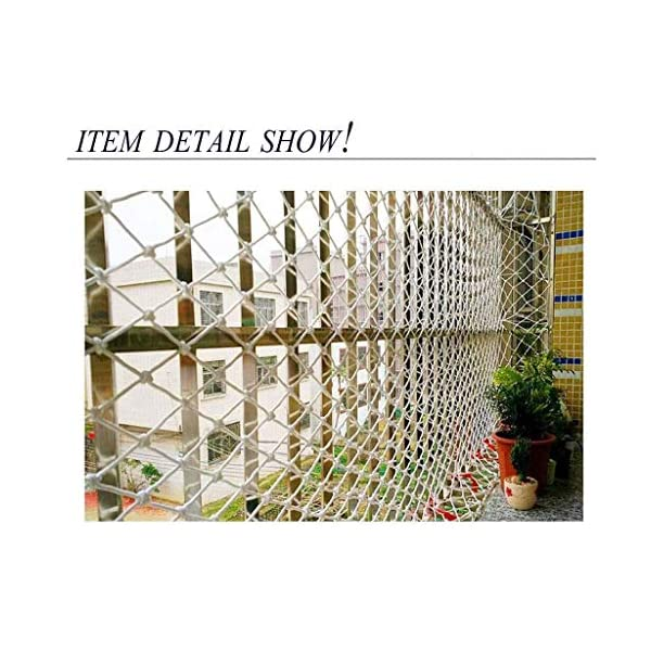 Banister Safety Net Nylon Rope Dense Mesh Stairs Anti Fall Net Outdoor Balcony Protection Net Children Safety Rope Net Kindergarten Decorative Net Fence Mesh Woven Mesh Hammock Swing 2x3m 3x5m 5x8m Mu CF-Safety Safety nets are suitable for various occasions, for use in our indoor balcony stairs to keep the baby's pets or toys safety. As stadiums, balconies, stairs, trailers, climbing facility, construction fence, etc., to prevent objects from falling. ▲ Safety net wire diameter 6MM, mesh spacing 10CM. Color: white rope net. Our protective mesh can be customized according to your needs. ▲Nylon woven mesh, the mesh surface has a large pulling force, and the double needle is a hand-woven mesh, which makes the net have strong impact resistance. 4