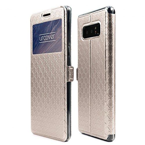 Urcover Sunflower Wallet kompatibel mit Samsung Galaxy Note 8 Handy Schutz-Hülle Cover [ Stand-Funktion & Magnet-Verschluss ] Klapp-Hülle Case mit Sicht-Fenster - Gold