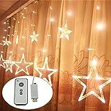 USB DC5V LED Sternenvorhang 138 LED-Lichter Mit Fernbedienung Schaltuhr 8 Modus Weihnachtlicher Lichtervorhang Lichterkette Stern Weihnachtsdekoration Dekoleuchte Dekolicht (warmweiß)