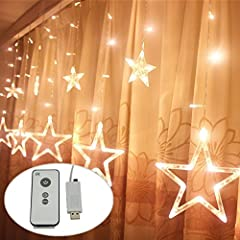 Idea Regalo - DC5V USB alimentata LED Stella tenda con telecomando 8 modalità luci di stringa led luce tenda catena stella di Natale decorazione lampada luci decorative bianco caldo