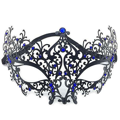 Zhangmeiren Maskerade Iron Mask Party COS Verkleiden Sich Metallic Diamond Half Face Halloween Iron Mask (Color : Blue)