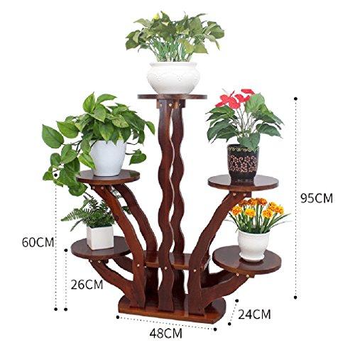 5 Tier-massivholz (YSNUK Blumenständer Blumenständer Massivholz Wohnzimmer Interieur Balkon Blumenregal Mehrschichtiges Topfgestell Indoor, Garten, Inneneinrichtungen (Color : 5 Tier-2))
