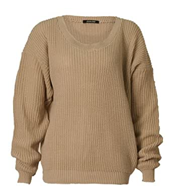 Womens Long Sleeves Knitted Baggy Style Oversize Plain Jumper Sweater / One Size -£11.99 (One Size (Fits UK 8-14), Stone)