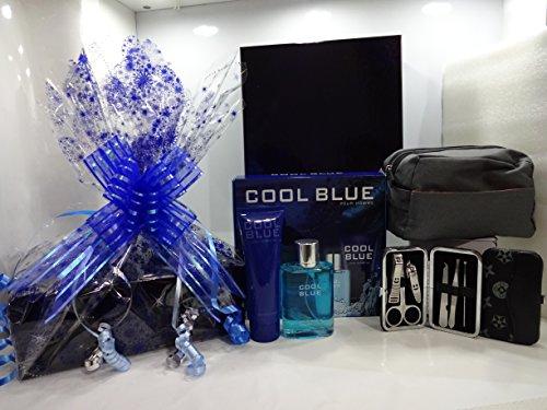 Confezione regalo di lusso cesto regalo per lui ~ Cool Blue 2PC profumo set regalo + l' Oreal Men Expert Wash bag + 7pezzi in...
