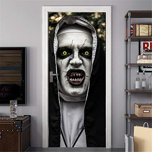Kostüm Nonne Schmutzige - Halloween 3D Wandaufkleber, Horror Nonne kreative Tür Aufkleber, Persönlichkeit, einfach zu kleben und zu zerreißen, Nicht schlechte Wand, perfekte Home Party Bar Requisiten