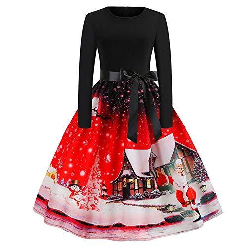 Kanpola Weihnachtskleid Damen Vintage Kleider Abendkleid Print Langarm Elegant Rock A-Linie Kleid (ab-Rot, 36)
