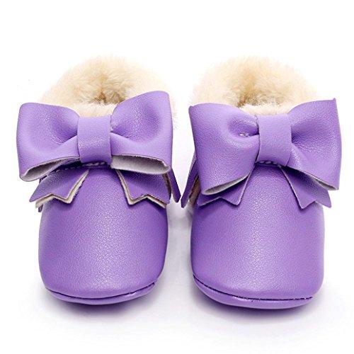 FEITONG Baby Bowknot weiche Sohle Schnee Aufladungen Mehrfarbig Baumwolle Schuhe Kleinkind Stiefel (12 ~ 18 Monat, Silber) Lila
