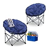 2x Campingstuhl Moonchair, 120 kg belastbar, XXL Campingsessel, faltbar, Tragetasche, dunkelblau, HBT: 77 x 82 x 70 cm