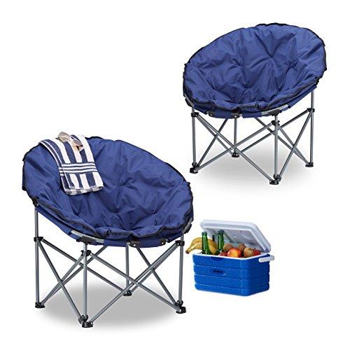 2x Campingstuhl Moonchair, 120 kg belastbar, XXL Campingsessel, faltbar, Tragetasche, dunkelblau,...