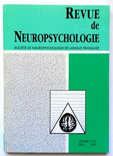 Revue de Neuropsychologie - Volume 11 - numéro 2 - juin 2001