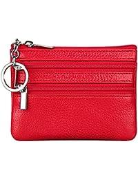ae6290ed3 Feoya - Carteras de Tarjetas Cremallera Moneda Monedero Mini Delgado  Billetera Roja para Mujer Hombre - Rojo Verde Azul Púrpura Negro…