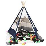 Tipi Spielzelt Kinder, Indianerzelt Innen Kinderzelt Faltbar 106 x 106 x 150cm, Spielhaus Warm Weiß/Blau/Tier