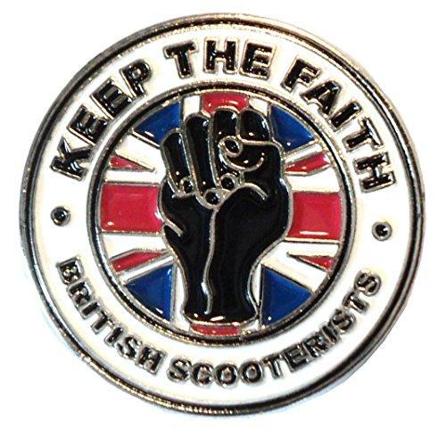 Keep The Faith British Scooterists GB Union Flag MOD Metal Enamel Badge (Metal-heads Union)