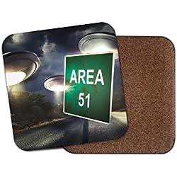 Area 51 UFO - Posavasos de corcho, diseño de espacio de navidad de Alien Aliens