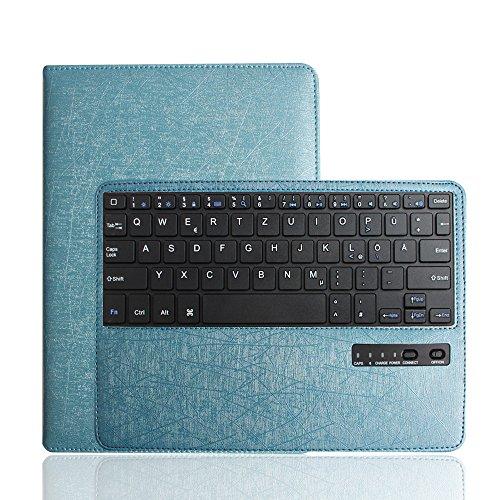 Preisvergleich Produktbild BORIYUAN Apple Ipad Air Leder Case Schutz Tasche Cover mit Bluetooth Tastatur Keyboard (Deutsche QWERTZ) für Ipad Air 2013 Ipad 5 (Stand Blau)