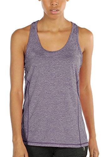 icyzone Damen Sporttop Yoga Tank Top Ringerrücken Oberteil Laufen Fitness Funktions Shirt (Lavender, XS)