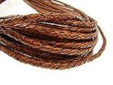 Ficelle en cuir rond tressé 4mm antique marron clair–Longueur: Choix, Cuir, Antik Hellbraun, 2 mètres