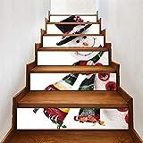 XINAINI 6pcs 3D Weihnachtsbaum Schneemann Und Elch Aufkleber Tapete Selbstklebend Treppenaufkleber DIY, Weihnachten Abnehmbare Wandbilder Weihnachtsdeko Heimdekoration
