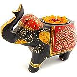 Elegant Wooden Handicraft Antique Finished Multicoloured Wooden Elephant Tea Light Holder