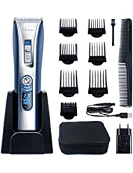 HATTEKER Haarschneider Herren Profi Haarschneidemaschine Elektrischer Bartschneider Haartrimmer Präzisionstrimmer Männer für Akku- und Netzbetrieb Wiederaufladbare USB