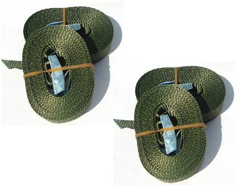 iapyx® 4x Spanngurt Klemmschloss Spanngurte Zurrgurt Lasten-Verzurrgurt Duo250 Befestigungsriemen 2.5m (125/250kg) in schwarz o. Bundeswehr oliv o. braun (oliv)